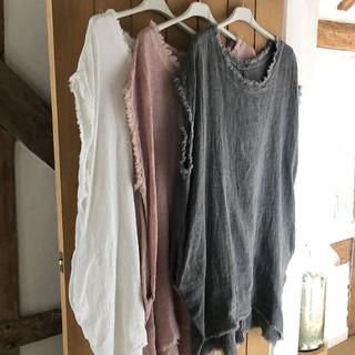 Boho chic linen dresses with frayed edge