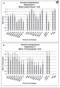 Vaccine ComMean lung cellular infiltration/lesion pathology and percent eosinophils in infiltrates for each vaccine dosage group two days after challenge with SARS-CoV. A. Mean lesion score and standard error of the mean (S.E.) for each vaccine dosage group. All mice exhibited lung histopathology. Scores are mean of scores for seven to eight mice per group. Scoring. 0 – no pathology, 1 and 2 – (1) minimal (2) moderate peribronchiole and perivascular cellular infiltration, 3 and 4 – 1 and/or 2 plus minimal (3) or moderate (4) epithelial cell necrosis of bronchioles with cell debris in the lumen. B. Mean percent eosinophils on histologic evaluation for seven to eight mice in each vaccine dosage group. Mean for each mouse is the mean percent eosinophils on five separate microscopy fields of lung sections. Analyses: A. Mean lesion scores were different p<.001. DIV without alum greater than with alum p = .001, VLP without alum greater than with alum p = .008. Posthoc comparisons: DIV lower than SV p = .001 and controls p<.001 but not VLP p>.05. SV lower than controls p .048. B. Mean percent eosinophils were different p<.001. Mean percent eosinophils lower for DIV with alum than without alum p = .049 and lower for SV with alum than without alum p = .001. Mean percent eosinophils lower for SV than DIV p = .002 or VLP. P = <.001. Mean percent eosinophils greater than controls for DIV, SV and VLP, all three vaccines p<.001.