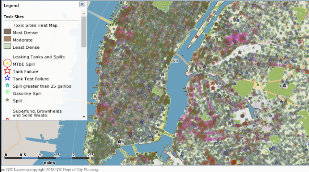 Caveat: Spill maps are good for earth pollution studies, but do not always accurately indicate present active hazards. There is a political element. For assertive discussion, Example 1: The green area is high-value real-estate in Manhattan, on the east side, Stuyvesant Town, 11,000 apartment buildings. This is the former site of a manufactured gas plant (MGP), which in my opinion, should be designated a still hazardous Superfund Site (a risk if one lives near ground level). Example 2: Brooklyn Naval Yard is the former site of shipbuilders during WWI and WWII and further back in history for 400 years. It shows on the map as an area of relative non-concern. Example 3: Fifty refineries once operated near Greenpoint and Williamsburg (Brooklyn) during the pre-regulatory era. Chemical spills are the largest in US history. The map doesn't represent the risks of that polluted earth appropriately.