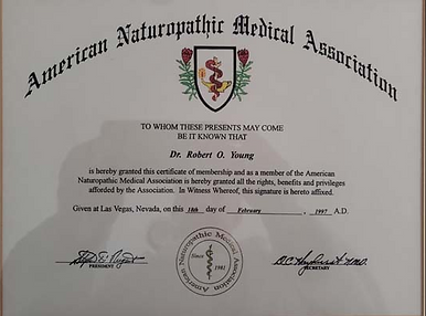 Dr. Young's Naturopathic Practitioner License