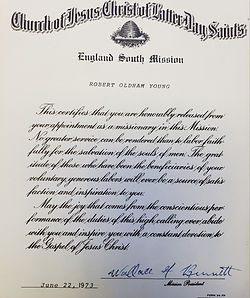 Dr.Youn's LDS mission certificate