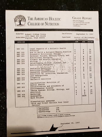 Dr. Young's American Holistic College Transcript