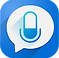Speak & Translate Logo, a white speech bubbe with a microphone icon in it all on a blue square background