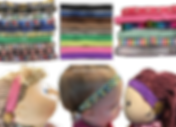 3 sets of multiple headbads in various patterns and colors. Below is a cabbage patch doll wearing a toy hearing aid attached with a pink sparkly headband, a small child wearing an actual hearing aid on a minions headband, and a stuffed doll wearing a toy hearing aid on a purple headband
