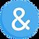Ava Logo, White ampersand symbol on round blue background