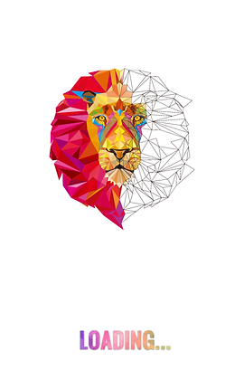 """Screenshot of Color by Number Poly Art, A line drawing of a lion's head made up of many different polygons.  The left half is in color and the right half is still black and white.  At the bottom of the white screen is the word """"LOADING…"""" in different colors."""