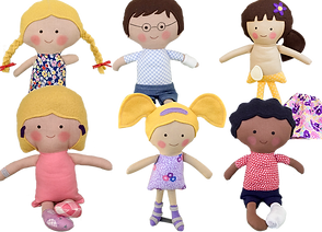 6 handmade rag dolls, one with uneven arms, one with glasses and an arm cast, one with an ostomy bag, one with hearing aids, one with AFOs and one with a leg cast