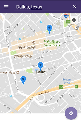 "Screenshot of Refuge Restrooms App, a google-map section focused on Dallas with several GPS points marked in blue.  At the top is a dark purple header with a navigation icon and white text reading, ""Dallas, Texas.""  Towards the bottom is a small purple button with the icon to get directions."