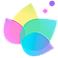 ColorFil Logo, 4 different colored petals of a styalized flower