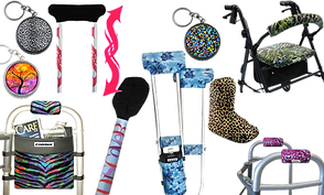 "3 small round keychain pill cases in different designs, a crutch with pink arrow decals wrapped around the posts, a walker decked with colorful zebra hand cushion and matching bag, a cruch with a sticker reading ""Discover"" wrapped on it, a set of crutches with blue abstract pads and matching bag, a leaopard print boot cover, a rollator with matching green toned backrest pad and seat pad, and a Walker with pink abstract hand-cushions."