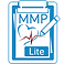"""Manage My Pain Lite Logo, a blue and white clipboard with """"MMP Lite"""" printed on it with a partial heart and heartbeat reading and a pen"""