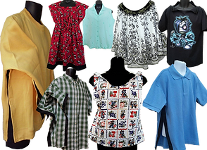 A variety of shrirts, dresses, and tanks in differnent styles. Some shown from the side to show velcro openings and closures.
