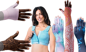 A white person un-velcroing a compression bra 2 black hands wearing colorful compression gauntlets, and 2 arms/hans wearing combined sleeves and gauntlets all in different colors and patterns