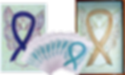 3 Drawn Angels each with a different colored ribbon surrounding it.  One purple, one Gold and one Teal.  The teal Angel is part of a fan of 12 greeting cards all with the same design.