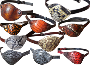 10 leather eye patches in varying stempunk and dagonskin styles