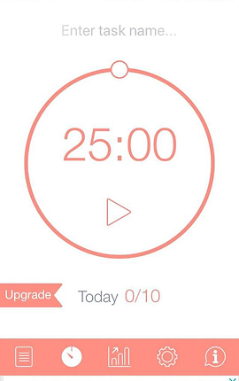 Screenshot of Be Focused App, a white screen with timer in the center set at 25 minutes.  A bottom pale orange menu bar has icons for various choices available.