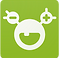 MySugr Logo, a bright green square with a white goofy figure face on it- the face has an open smile and eyes on stalks. One eye has a - symbol in it and the other has a +