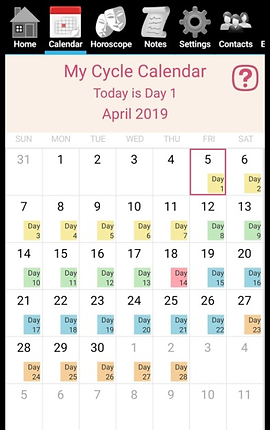 Screenshot of the Hormone Horoscope Main Screen.  A calenda with each cycle day showing a different colored set of squares- depending on where in the cycle the user is. The current day's date is outined in red. At the top is a row of menu icons.