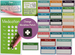 Sticker sets for tracking various medical appointments, medication, pain and bandage changes