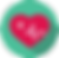 Heart Rate Plus Logo, a green circle with a red heart in the center.  In the heart is a whie + and a heart rate blip