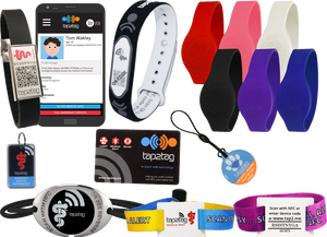 A range of medic-alert jewelry including rubber, fabric, metallic and plasti wristbands, a photo of a phone which shows the online interface, a keyfob and a pet tag.