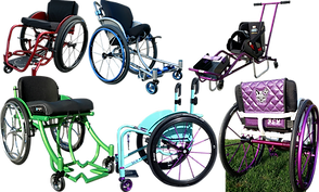 6 custom built wheelchairs in varying colors and styles
