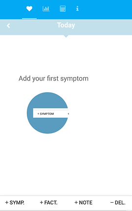 """Screenshot of Simple Symptom Diary App, a white screen with blue header.  There are 4 small icons on the header, and below a lighter blue section reading, """"Today"""" in white letters. In the white section is black text reading, """"Add your first symptom"""" and a blue circle with rectangular inset that says, """"+symptom"""".  At the bottom is a menu reading, """"+SYMP."""" """"+FACT."""" """"+NOTE."""" """"-DEL."""""""