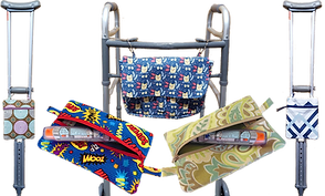 2 crutches with patterned fabric bags hanging from the hand holds, a walker with a fabric bag, and 2 zippered pouches with epi-pens in them.