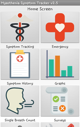 """Screenshot of Myasthenia Symptom Tracker App, a white screen with thin gray header reading, """"Myasthenia Symptom Tracker v2.5.  There are 6 visible gray squares with icons for different options including, """"Symptom Tracking,"""" """"Emergency,"""" """"Symptom History,"""" """"Graphs,"""" """"Single Breath Count,"""" and """"Surveys.""""  There are 2 other categories below cut off by the bottom of the screen."""