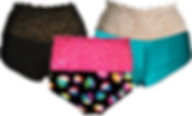3 Pairs of undies with wide lace tops, one in black with black lace, one with silky teal fabric and off-white lace, and one with black fabric adorned with multi-color hearts and pink lace.