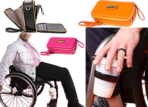 A partial image of a person in a wheelchair, on one of the leg bars is an attached cup holder with a coffee up in it.  Next to itis a close up of the same cup holder, with a white person's hand reaching for the cup.  Above are 3 bags- one black, shown open to illustrate the pockets and compartments, and the same bag closed- one in pink and one in orange.