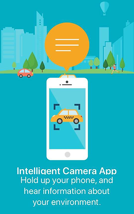 "Screenshot of Seeing AI App, a light teal screen with a simple city-scape illustration along the top. In the center is an illustration of a smart phone with orange speech bubble above it showing lines indicating typed text. On the screen of the phone is a yellow cab.  Below the phone is white text reading, ""Intelligent Camera App.  Hold up your phone, and hear information about your environment."""