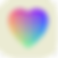 I Love Hue Logo, a heart shape with different colored squares filling it all on a cream square background