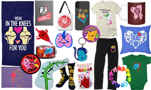 stuffed organ plushes, pants, socks, posters and bags with illustrated organs on them