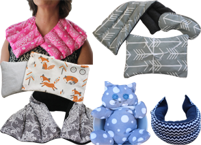 Hot and cold packs in varying prints and patterns and sizes