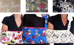 Across the top, 3 different fabric swatches: 2 Game of Thonres themed and one black and white paisley, on the bottom, 3 white bodies modeling slings in different patterns.  A pink and White emoji theme, a spiderman theme, and a lacy white sling.