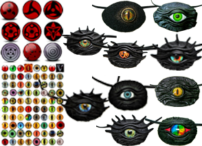 10 black texured eye patches with vaious eyes embedded in them and styled to look like dragon skin, 2 color chart with eye options