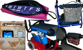 a pink zippered cover open to reveal a purple 7-day pill case, an organizing bag that hangs from a bed, a power chair with an organizing bag which rests over the seat, a walker with a black and white printed bag hanging from the front, and a wheelchair with a bag that sits over the armrest.