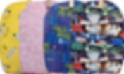 4 ostomy pouch covers: one with minions on it, one pink with white butterflies, one doctor who themed, and one marvel themed