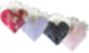 4 Heart shaped ostomy covers, Red, light purple, black and pink with floral tops.