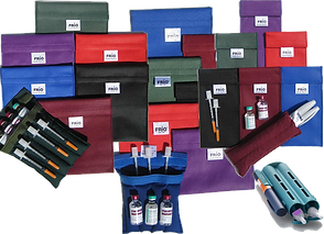 A serie of 3 baches of colorful pouches, each also has an open one showing that they can hold different amounts of insulin/diabetes pen supplies.