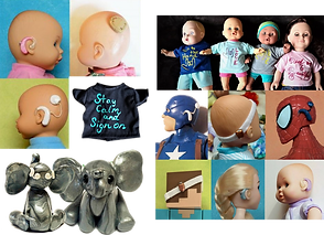 "a trio of baby doll heas with small vesions of hearing aids and cochlear implants, a small black doll's tee that reads, ""Stay Calm and Sign On,"" a set of 4 dolls each wearing deaf-positive tee shirts, a set of dolls and action figures, including spide man and captain american which have hearing devices added to them, and a small clay elephant figurine with white hearing devices shown from the back and the front."