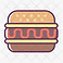 Crohn's Food Tracker Logo, a white square with a simple hamburger illustration in the center