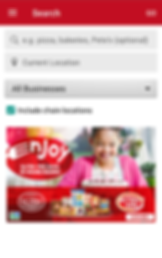 Screencap of Find Me Gluten Free App, a white screen with red header bar. There is space to search for a type of restaurant and adjust your desired search location.  There is the option to include or exclude chain locations, and the bottom section has a photo of a young person in pink getting ready to blow out birthday candles.