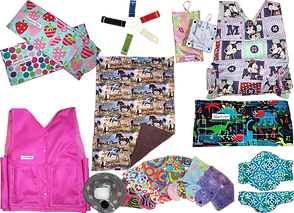 2 g-tube blts in different colorful patterns, 5 g-tube clips in blue, red, white, green and brown, a set of feeding bag insulated covers, a weighted vest in a Minnie mouse print fabric, a g-tube belt in dinosaur print, a set of teal and white floral feeding tube covers, a fanned out selection of g-tube belt and pads in various fabrics, weighted blanket in a horse print with brown backing, and a pink cooling vest