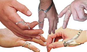 5 white hands sporting different ring and thumb splints in silver.