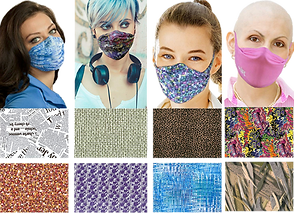 2 rows of various patterned fabrics and a row of 4 different people wearing different patterned/colored face masks.
