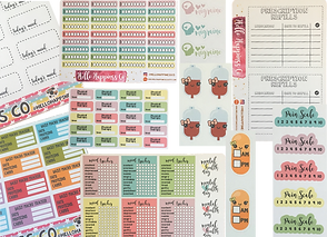 Cartoon blood and pill stickers, several different trackers for mood, blood pressure and other factors and several different pain scale stickers.