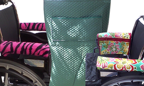 2 wheelchairs with different armrest covers, one which has a matching armrest bag on the side.  A green wheelchair blanket in a quilted fabric with a wide pocket in the front.