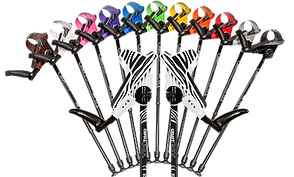 11 fanned out Smart Crutches in a rainbow of colors, and two in front in zebra pattern.